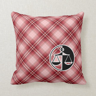Red Plaid Justice Scales Throw Pillow