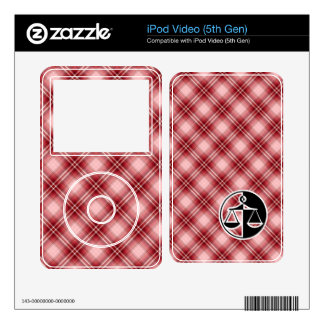 Red Plaid Justice Scales Decals For iPod Video