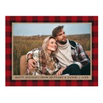 Red Plaid Kraft Couple Photo Happy Holidays Postcard