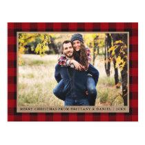Red Plaid Kraft Couple Photo Merry Christmas Postcard