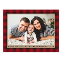 Red Plaid Kraft Family Photo Happy Holidays Postcard