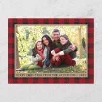 Red Plaid Kraft Family Photo Merry Christmas Postcard
