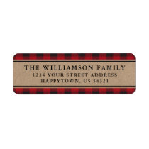 Red Plaid Kraft Holiday Return Address Labels