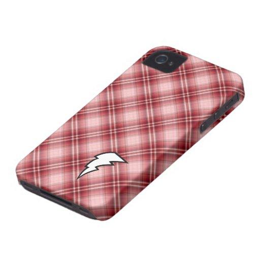Red Plaid Lightning Bolt iPhone 4 Case