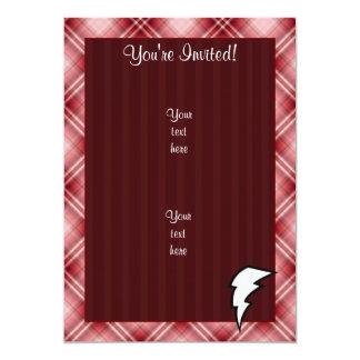 Red Plaid Lightning Bolt 5x7 Paper Invitation Card