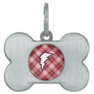 Red Plaid Lightning Bolt Pet Name Tags