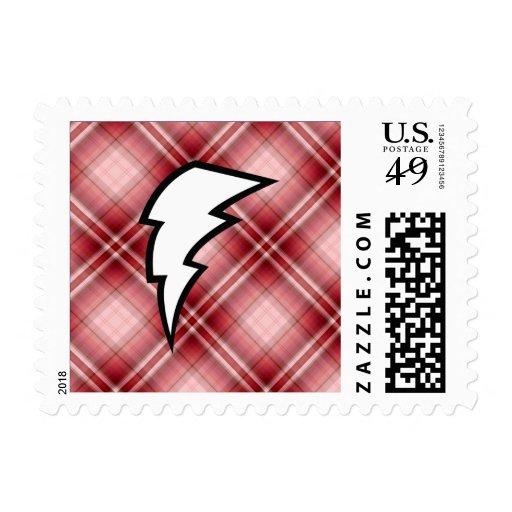 Red Plaid Lightning Bolt Postage Stamps