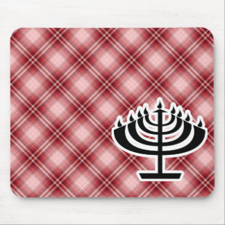 Red Plaid Menorah Mouse Pads