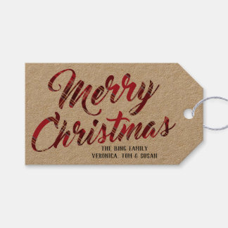 Red Plaid Merry Christmas Holiday Tag