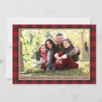 Red Plaid Merry Christmas Kraft Family Photo Holiday Card