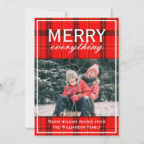 Red Plaid Merry Everything Family Photo Christmas Holiday Card