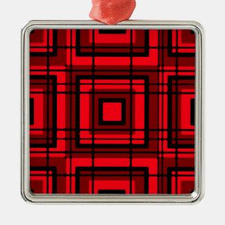 Red Plaid Metal Ornament