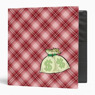 Red Plaid Money Bags Binder