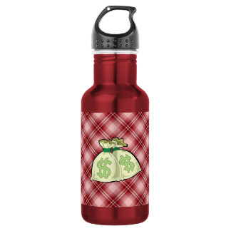 Red Plaid Money Bags 18oz Water Bottle