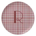 Red Plaid Monogram Plate