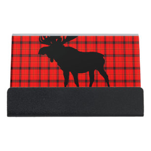Moose business card holders zazzle red plaid moose desk business card holder colourmoves