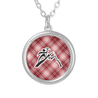 Red Plaid Mountain Climbing Pendant