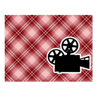 Red Plaid Movie Camera Post Card