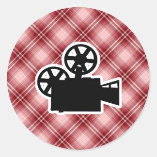 Red Plaid Movie Camera Classic Round Sticker