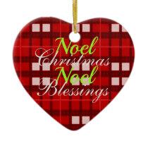 Red plaid Noel Christmas Blessings Ceramic Ornament