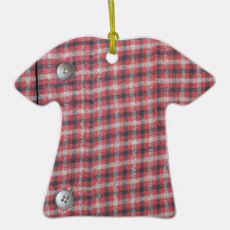 Red Plaid Double-Sided T-Shirt Ceramic Christmas Ornament