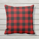 "Red Plaid Outdoor Pillow<br><div class=""desc"">Red and Black pattern Pillow with a rustic lumberjack buffalo plaid.</div>"