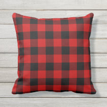 Red Plaid Outdoor Pillow