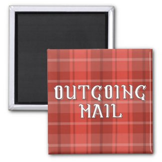 Red Plaid Outgoing Mail Magnet