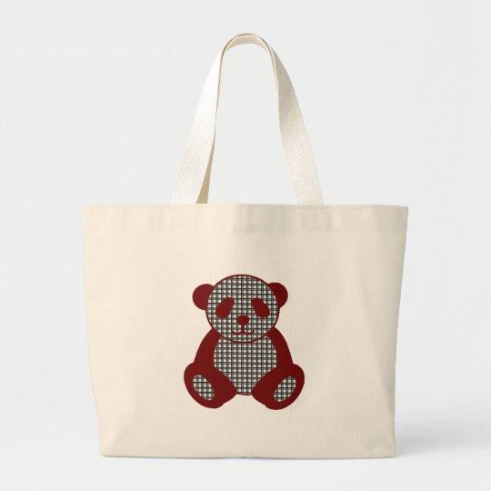 Red plaid Panda Large Tote Bag