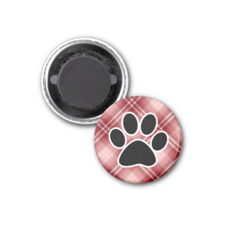 Red Plaid Paw Print 1 Inch Round Magnet