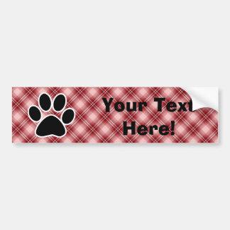 Red Plaid Paw Print Car Bumper Sticker