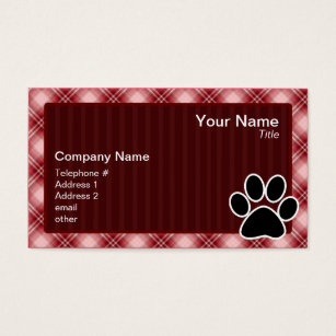 Pawprint business cards templates zazzle red plaid paw print business card colourmoves