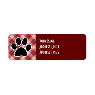 Red Plaid Paw Print Label