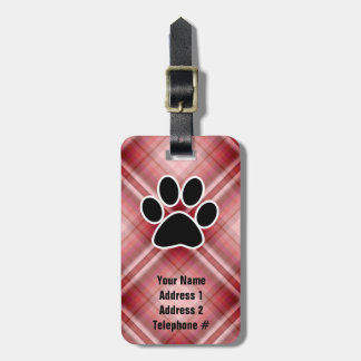 Red Plaid Paw Print Tags For Luggage