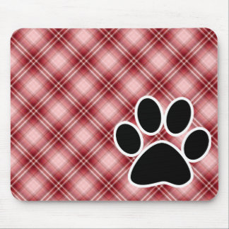 Red Plaid Paw Print Mouse Pad