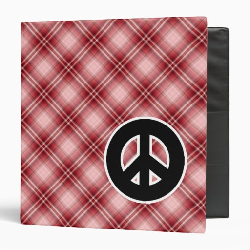 Red Plaid Peace Sign 3 Ring Binder