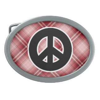 Red Plaid Peace Sign Oval Belt Buckle