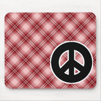 Red Plaid Peace Sign Mousepad