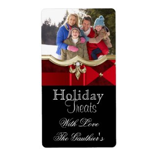 Red Plaid Photo Holiday Baking Label