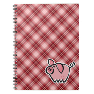 Red Plaid Pig Notebook