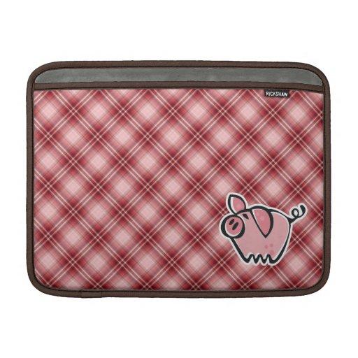 Red Plaid Pig Sleeves For MacBook Air