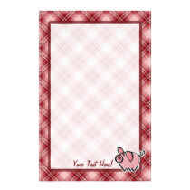 Red Plaid Pig Stationery