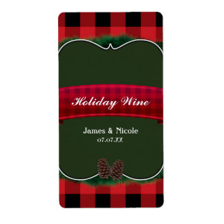 Red Plaid Pinecones Rustic Country Wine Label