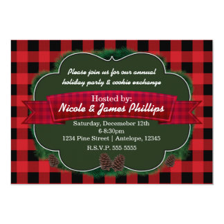 Red Plaid & Pinecones Rustic Holiday Invitations
