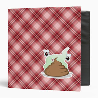 Red Plaid Poop 3 Ring Binder