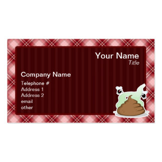 Red Plaid Poop Business Card Templates
