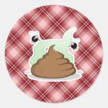 Red Plaid Poop Round Stickers
