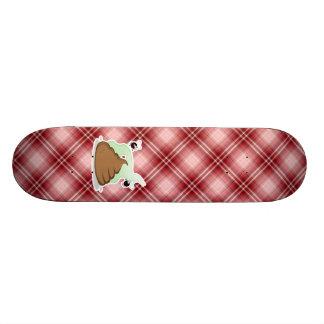 Red Plaid Poop Skateboard Deck