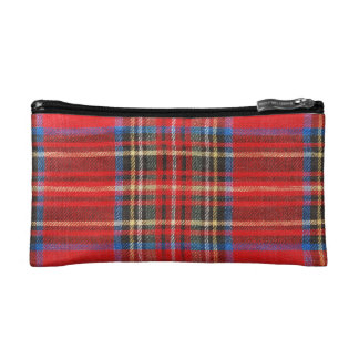 Red Plaid Print Cosmetics Bags