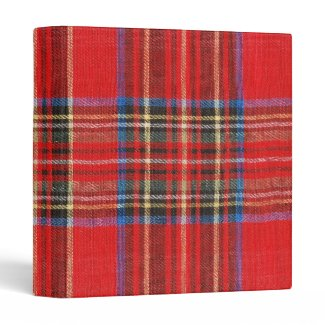 Red Plaid Print Binders